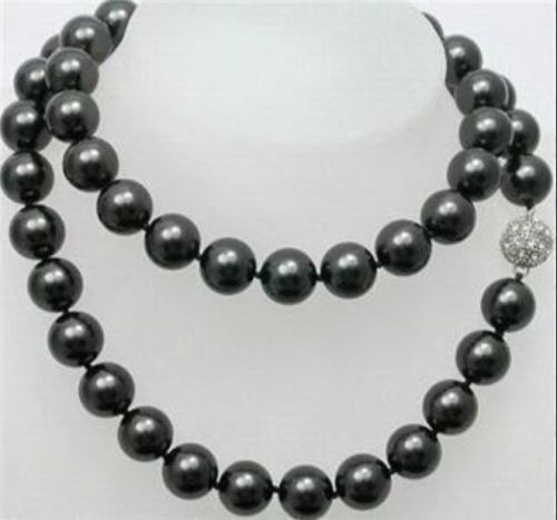 Free shipping 12mm Black Sea Shell Pearl Long Necklace 32''