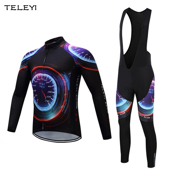 Men Long Sleeve Cycling Jersey Sets Ropa Ciclismo Road Bike Cycling Clothing Breathable Bicycle Sportswear Gel Padded Bib Pants