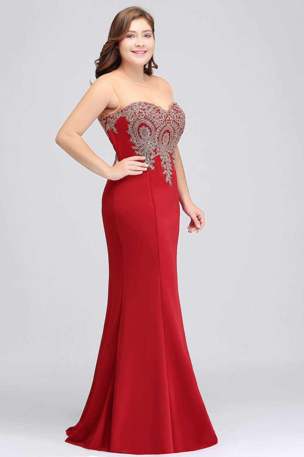 Image 5 - Plus Size Long Evening Dress 2019 Mermaid Formal Dress Party Elegant Evening Gown Sleeveless Applique robe de soiree-in Evening Dresses from Weddings & Events