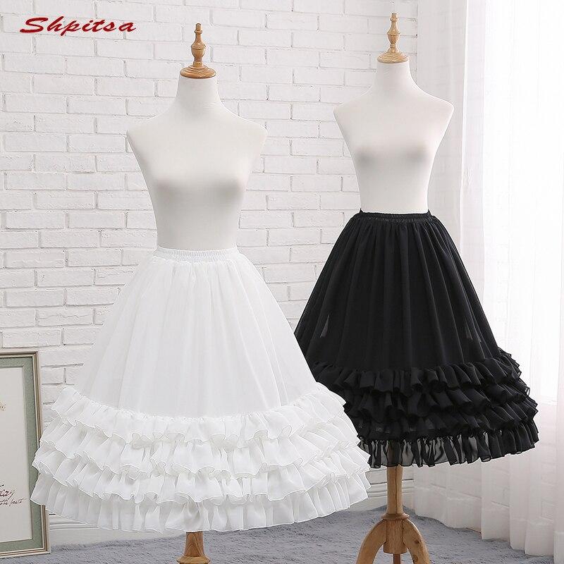 Black or White 3 Hoops Short Petticoats for Wedding Lolita Woman Girl Underskirt Crinoline Fluffy Pettycoat