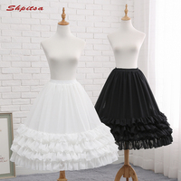Black or White 3 Hoops Short Petticoats for Wedding Lolita Woman Girl Underskirt Crinoline Fluffy Pettycoat Hoop Skirt