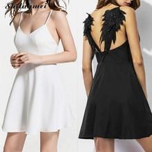 Женское летнее платье с вышивкой,, темные крылья ангела, готическое, vestidos de festa, с открытой спиной, черное, белое, сексуальные, вечерние, Клубное платье xs