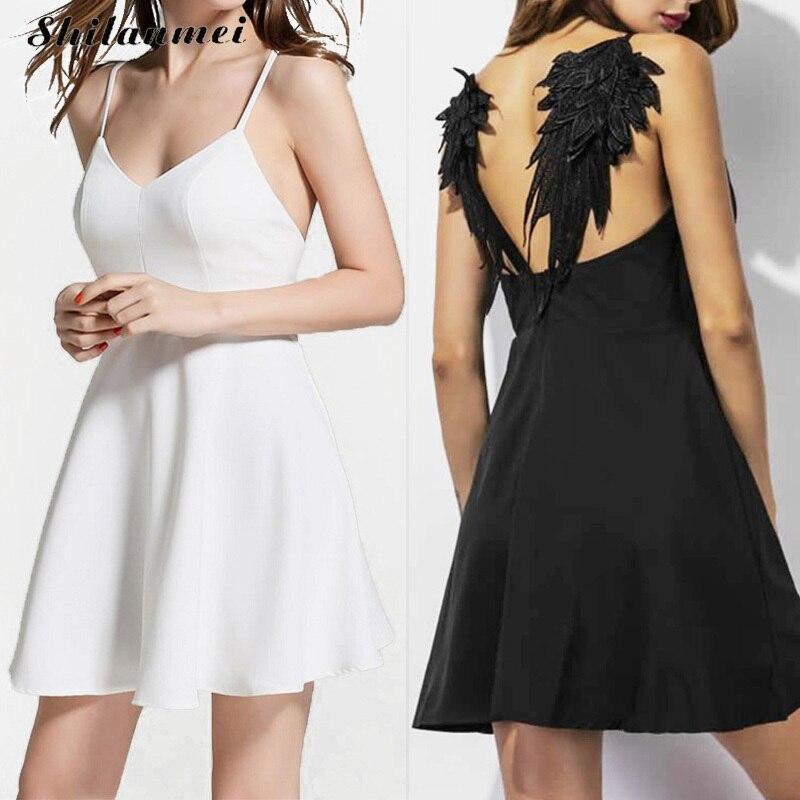 Mujeres verano Bordado vestido Femme 2017 alas de Ángel oscuro gótico vestidos de festa backless negro blanco sexy party Club vestido XS