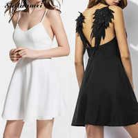 Mulheres Verão vestido Bordado Femme 2017 Asas de Anjo Gótico Escuro vestidos de festa Preto Sem Encosto vestido Sexy Clube Branco Partido xs