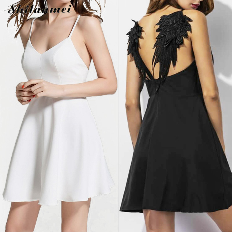 Women Summer Embroidery dress Femme 2017 Dark Angel Wings Gothic vestidos de festa Backless Black White Sexy Party Club dress xs