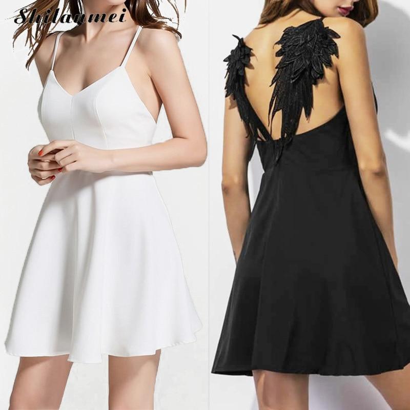 Women Summer Embroidery dress Femme 2017 Dark Angel Wings Gothic vestidos de festa Backless Black White Sexy Party Club dress xs