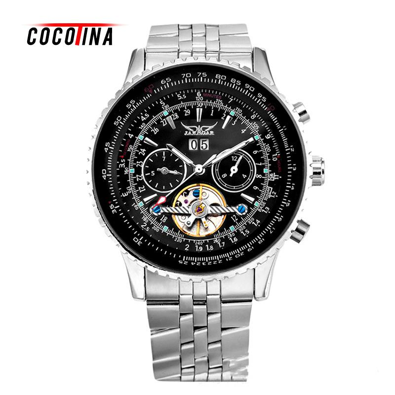 COCOTINA Automatic Mechanical Watches men Top Brand Luxury Leather Stainless Steel Skeleton Watch relogios masculino LSB01128 tevise men black stainless steel automatic mechanical watch luminous analog mens skeleton watches top brand luxury 9008g