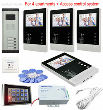 Video Intercom For 4 Apartment Video Doorman With 4.3″ Color Screens Security Video System Rfid Keypad Access Control System Kit