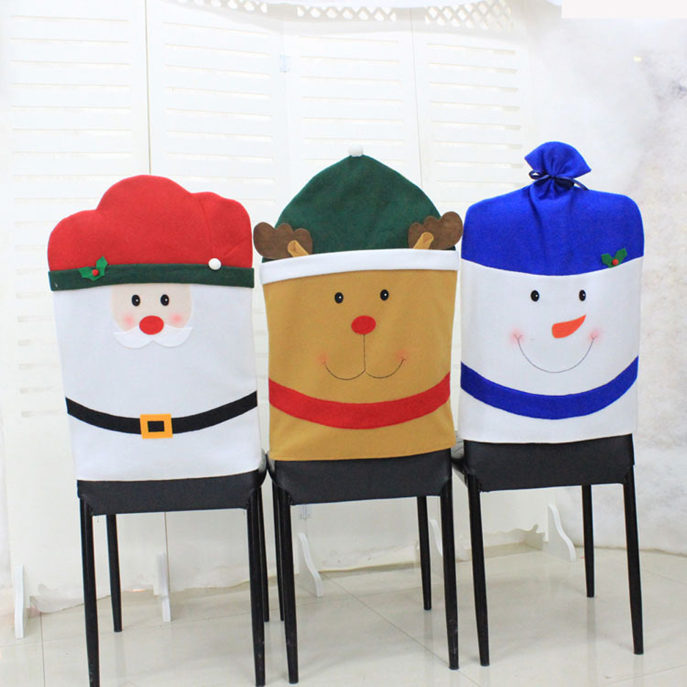 1pcs Christmas Santa Claus Snowman Elk Hat Chair Back Cover Table Room Holiday DecorationChina