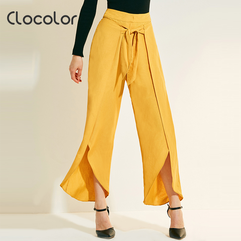 Clocolor Women Pants 2018 New Yellow Green Loose Wide Ruffle Full Leg Long Fashion Vacation Spring Summer Women Pants