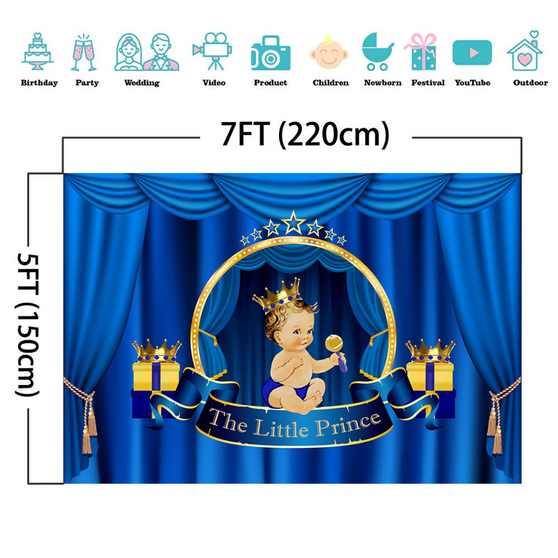 NeoBack Royal Prince Baby Shower Backdrop Blue Curtain Crown Photography Background Great Gift Baby Shower Banner Backdrops in Background from Consumer Electronics