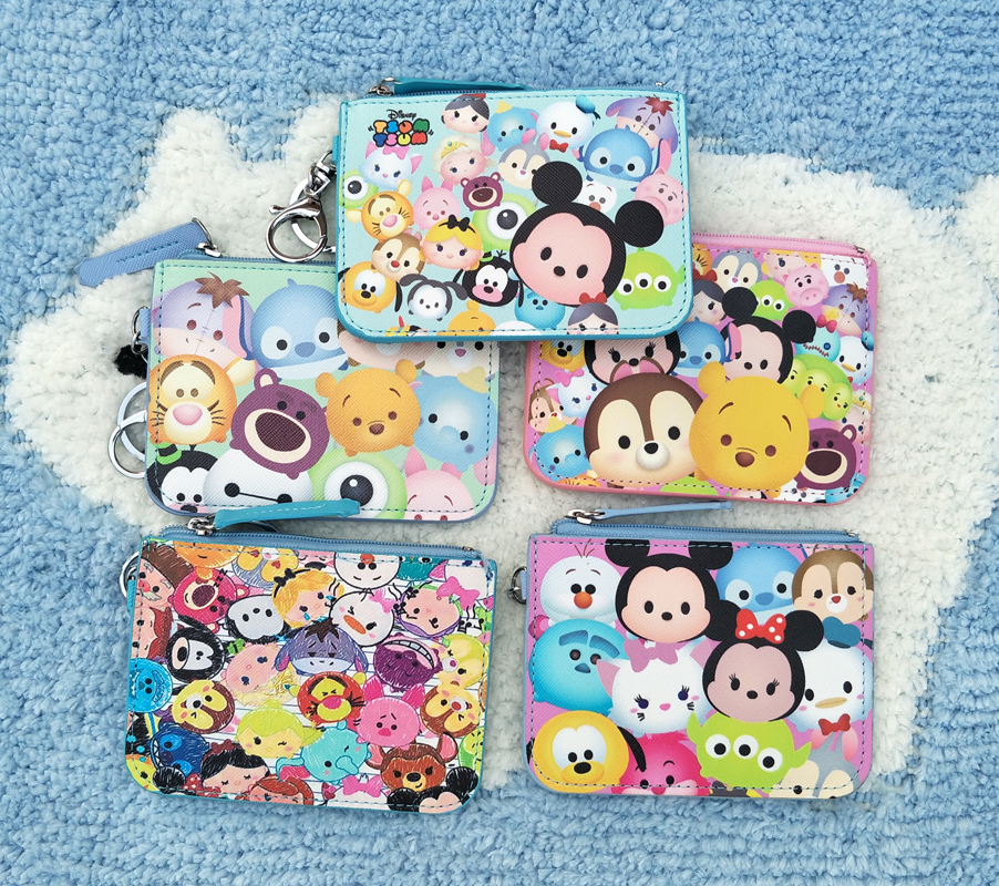Ivyye 1pcs Mickey Stitch Anime Plush Card Holder Pu Cartoon Credit Id Bags Zipper Coin Bus Card Wallet Kid Girls Gifts New Card & Id Holders