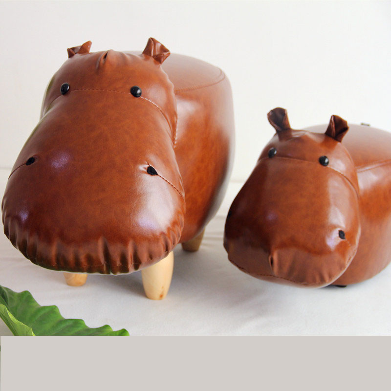 Footstool Chair Sale Kruk Pufe Muebles De Madera Stool Hippo Animal Shoes Tea Table Sofa Children Modern Synthetic Leather ...