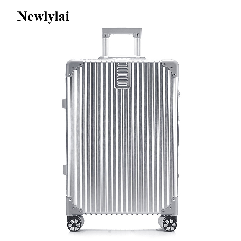 Vintage aluminum frame pull rod box business boot password for men and women luggage universal wheel board boxes JJ170089 free shipping 100% aluminium luggage magnesium alloy luggage universal wheel lockbox metal box men and women on board boxes