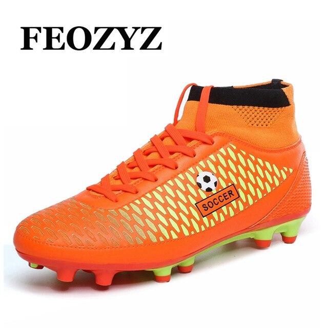 e353e331aa FEOZYZ Crianças Meninos Homens Alto Tornozelo Botas de Futebol FG Futebol  Chuteiras Sapatos De Futebol Formadores