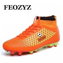 FEOZYZ Crianças Meninos Homens Alto Tornozelo Botas de Futebol FG Futebol Chuteiras Sapatos De Futebol Formadores Zapatos De Futbol Con Tornozeleiras