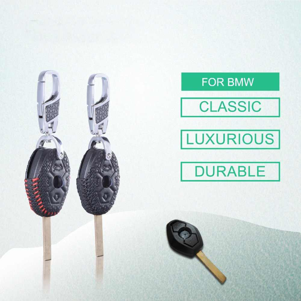 Leather Remote Holder Keychain for BMW X3 X5 Z3 Z4 5 7 Series 325i E38 E39 E46 E53 E83 M5 Smart Fob Shell Sleeve