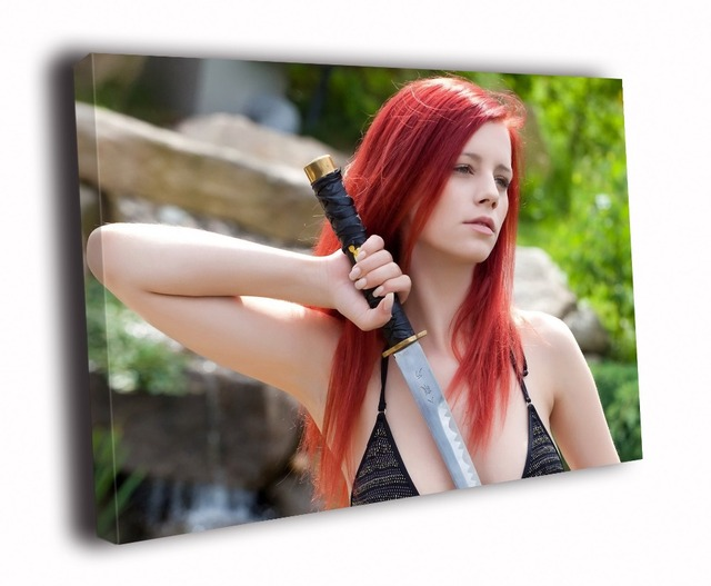 HD Canvas Printings Painting-Sexy Redhead Girl Katana Weapon Art D2786