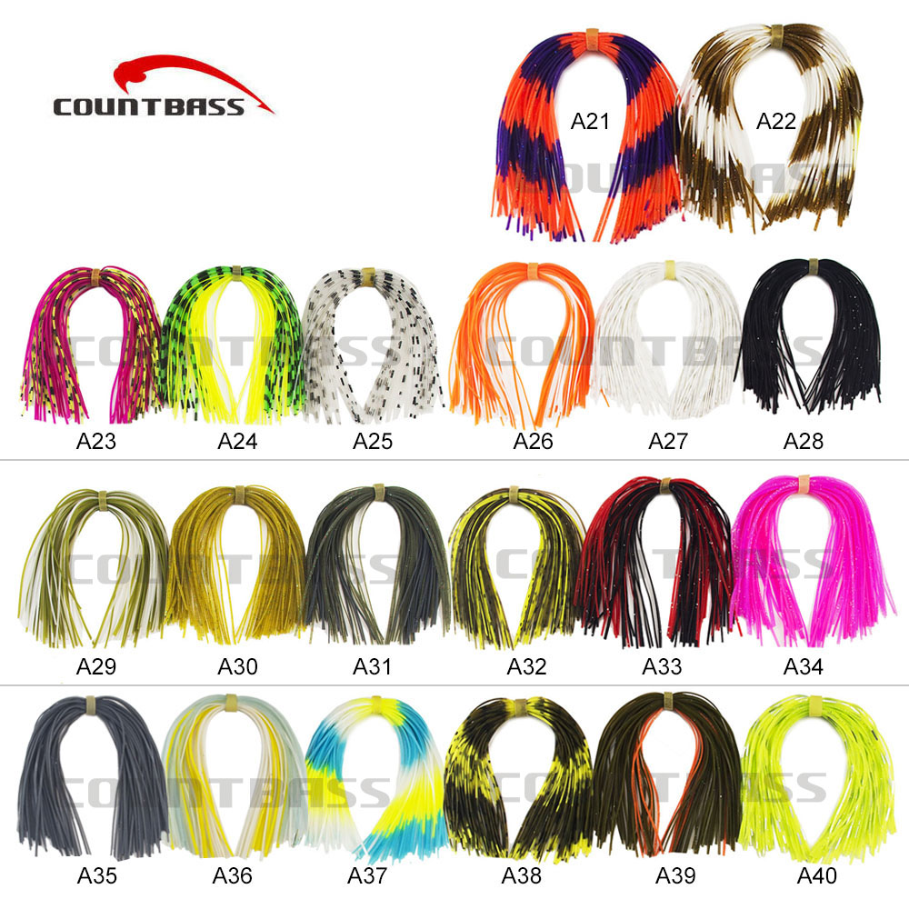 20 Bundles 50 strands Silicone Skirts Fishing Accessories, DIY spinnerbatis buzzbaits rubber jig lures, Salty Squid Rubber