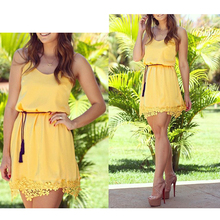Yellow Summer Women Tropical Dress Strap Lace Sleeveless Mini Slim Casual Dresses