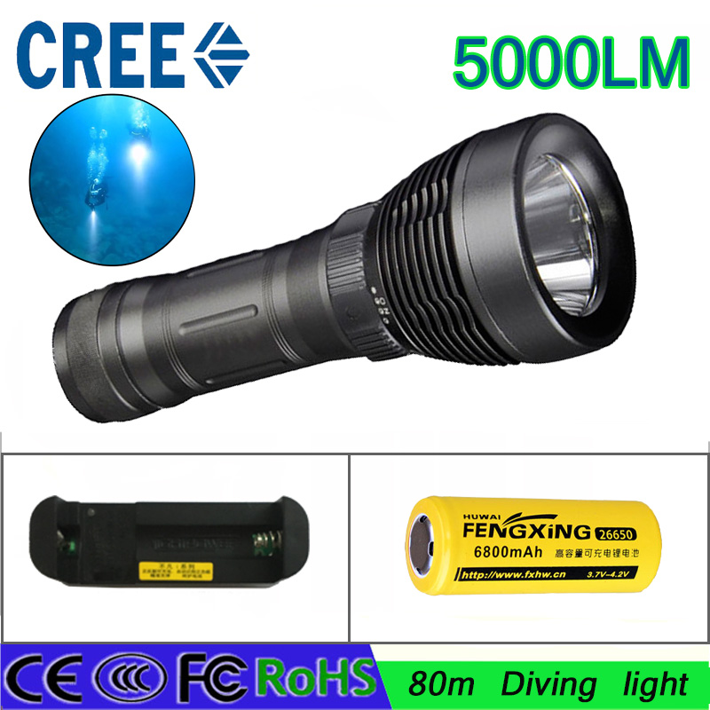 2016 New LED Diving flashlight led Torch CREE XM-L T6 5000LM LED Flashlight linternas Underwater 80M Waterproof Lamp