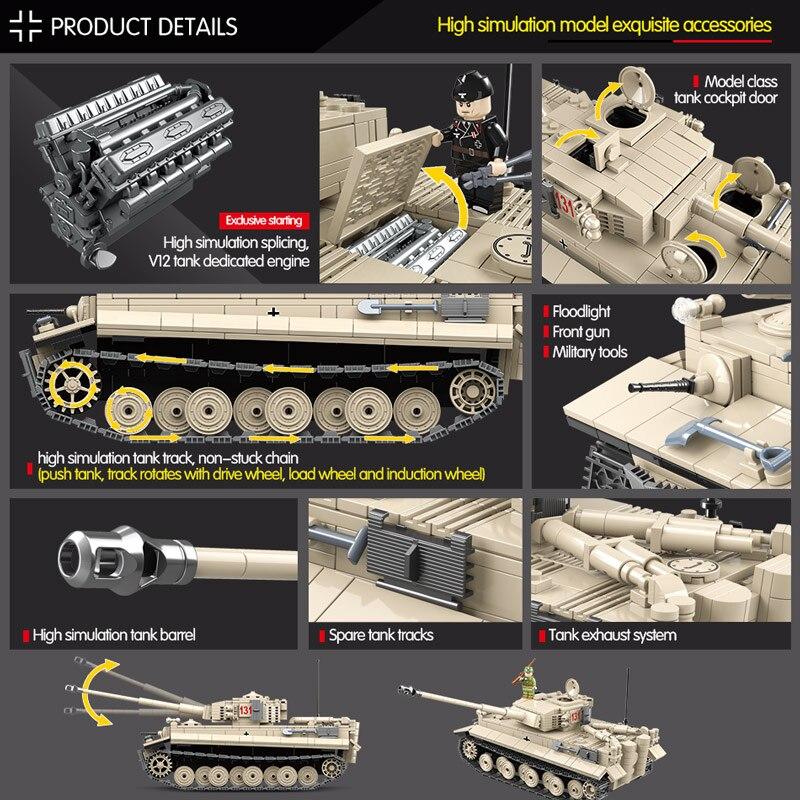 1018 pièces réservoir militaire WW2 blocs de construction compatibles avec la ville Jedi réservoir tigre 131 briques combattant armes jouets pour garçons - 3