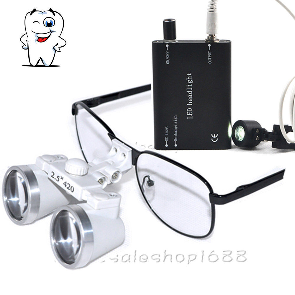 Dental LED Head Light Lamp S+R + 2.5X420mm Medical Binocular Surgical Loupes hot new 2017