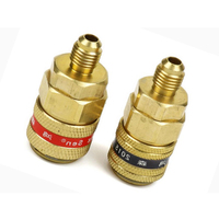 For Car A/C Systems Quick Coupler Brass Connector Adapter Manifold Conversion Kit High / Low Pressure Side 1/4 SAE R134a 1 Pair