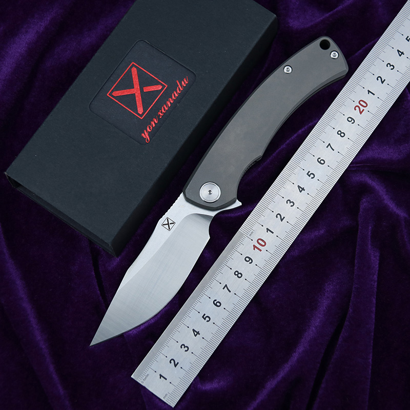 LEMIFSHE YX 650 Flipper Folding Knife Titanium Alloy Handle D2 Blade Ceramic Bearing Hunting Camping EDC