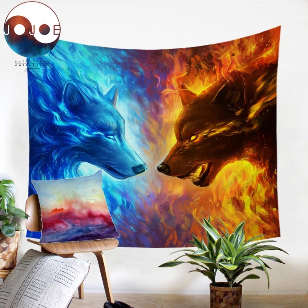 Feuer und Eis durch JoJoesArt Wandteppich Hängen Blau und Gelb Strand Matte 3D Tier Wolf Gedruckt Blätter Dekorative Wandteppich