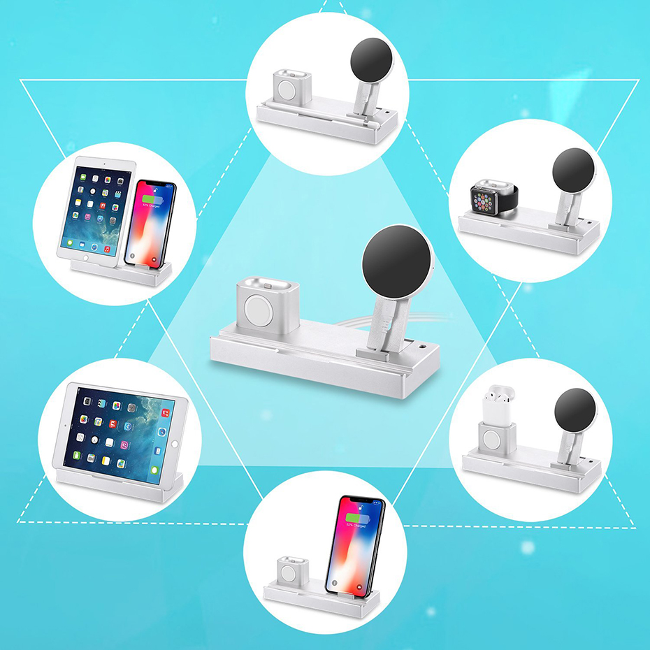 Aluminium Alloy 4 In 1 Night Table Stand For Apple Watch Airpods Apple Pencil 5W Wireless Charger Stand For Iphone 8 Iphone X (3)