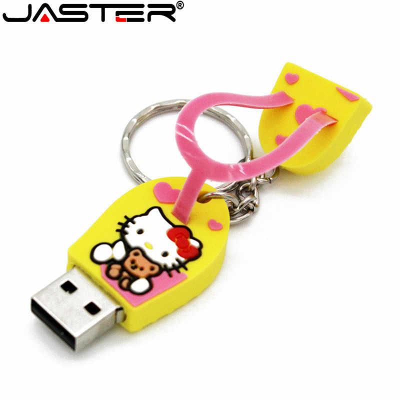 JASTER Chinelos Pen Drive pendrive presente Dos Desenhos Animados olá kitty 4 GB 8G 16 GB GB 64 32 GB tom cat Usb Flash Drive memory stick chave cadeia