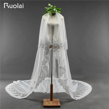 Elegant 2 Layers White/Ivory Wedding Veil Lace Edge Long 3 Meters Bridal Veil Tulle Wedding Accessories Velo de Novia FV32