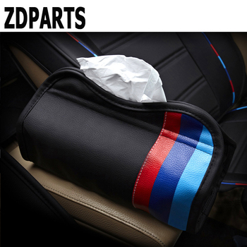 ZDPARTS Car Seat Tissue Boxes Cover Three Primary Colors Leather For BMW E46 E39 E90 E60 F30 F10 E34 X5 E53 E30 M 3 4 5 X1 X3 X6 image