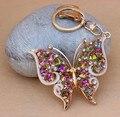 Envío gratis! nueva llegada del Color del AB Rhinestones cristalinos de la mariposa de Metal regalos llavero llavero bolsa perchas perchas decoración