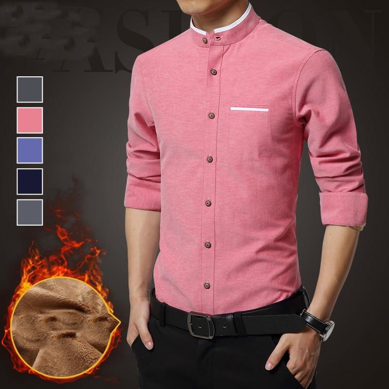 e70a538b Big Size 5XL Mens Long Sleeve Mandarin Collar Casual Shirt Add Velvet  Cotton Non Ironing Slim Dress Shirt Camiseta Masculina-in Casual Shirts  from Men's ...