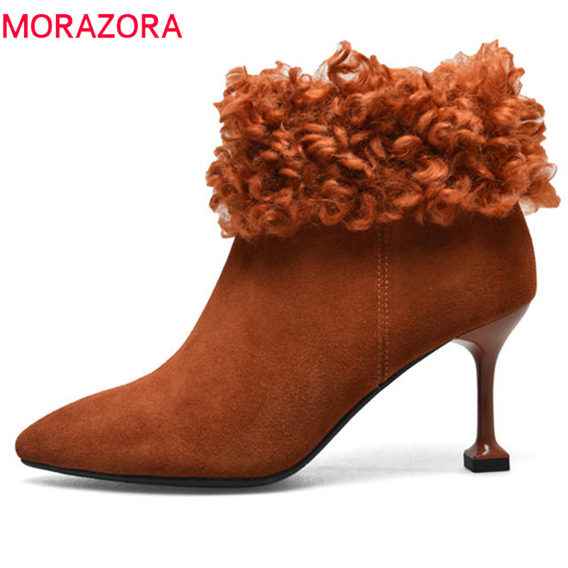 MORAZORA 2018 new fashion style ankle boots cow suede leather shoes woman pointed toe autumn sexy high heels boots size 33-40 spring autumn woman shoes cow suede shoes high heels sexy party pumps fashion women s pointed toe thin heel ankle boots 34 41