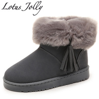 Faux Fox Fur Leather Women Boots Solid Slip On Soft Cute Women Snow Boots Round Toe