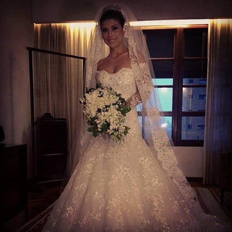 A Line Off Shoulder Vestido De Noiva Appliques Sexy Luxury Bride Dresses Cheap Lace Long Sleeve Wedding Dresses With Buttons