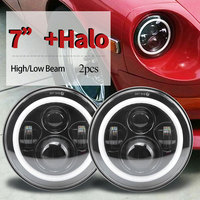 7 Inch Led Headlight Round 7 Headlights With Yellow White Angel Eye H4 DRL For Jeep