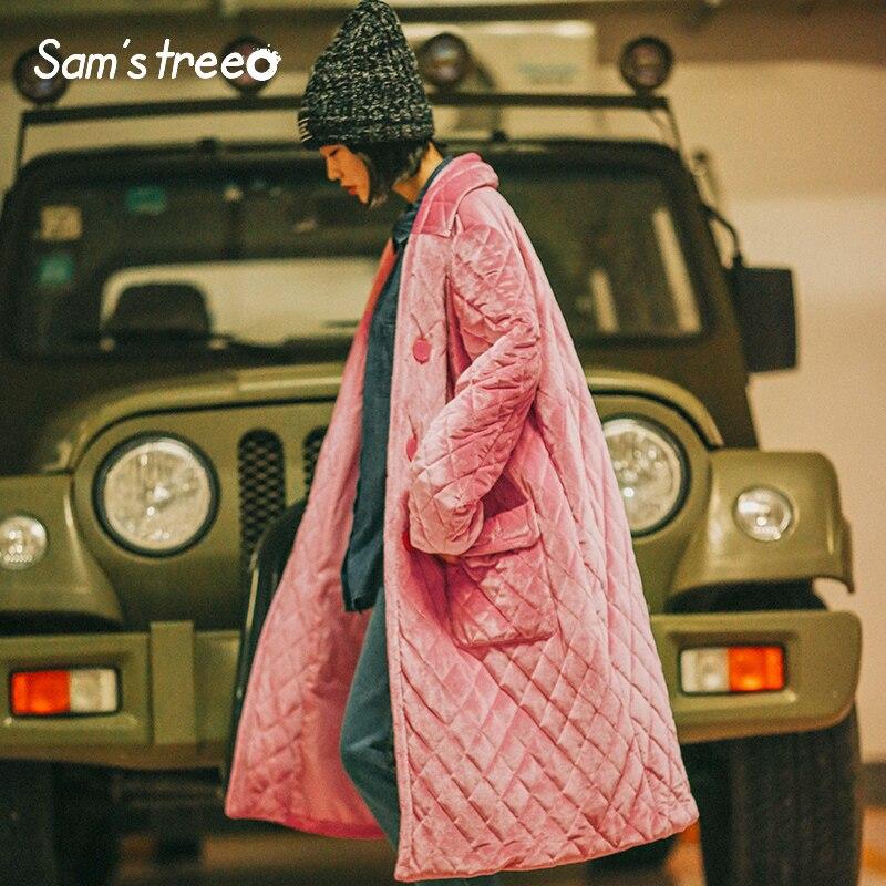 Samstree Harajuku Winter Women Loose Coat Solid Color Velour Diamond Pocket Female Long Pink Coat
