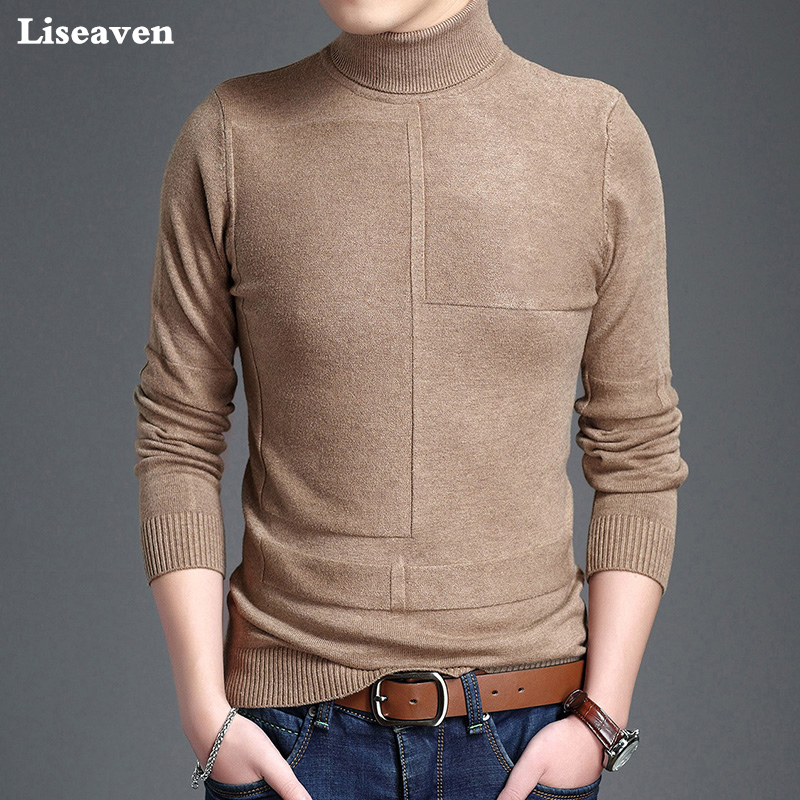 Liseaven Mens Sweaters Casual Male Turtleneck Pullovers Man's Black Solid Knitwear Slim Brand Clothing Male Pullover Sweater