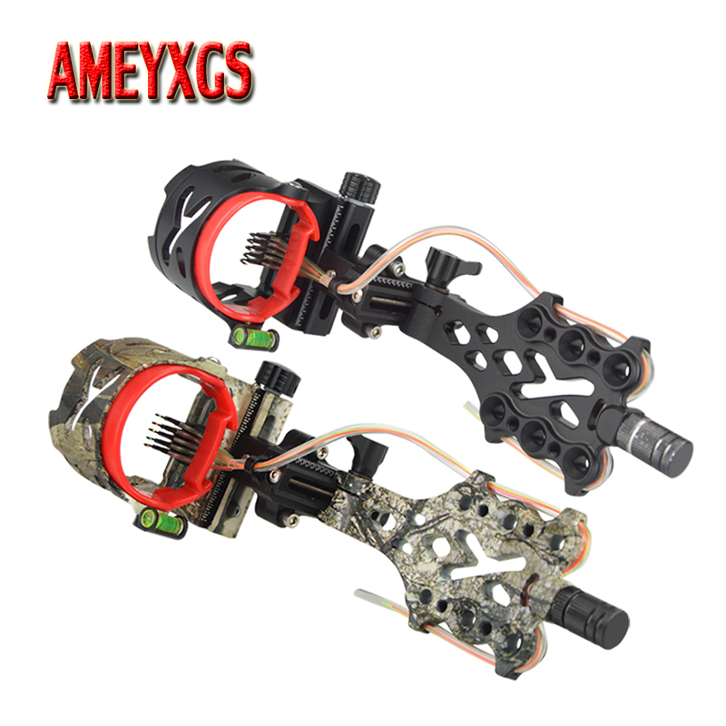 1pc Archery Compound Bow Sight Adjustable 0 019 Optical Fiber 5 Pins Sight For Bow And