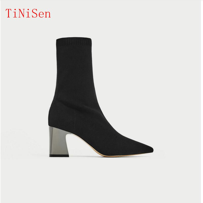 Fashion Femme Ankle Elastic Sock Boots Chunky High Heels Stretch Women Sexy Booties Pointed Toe Women Pumps Botas Spring fall