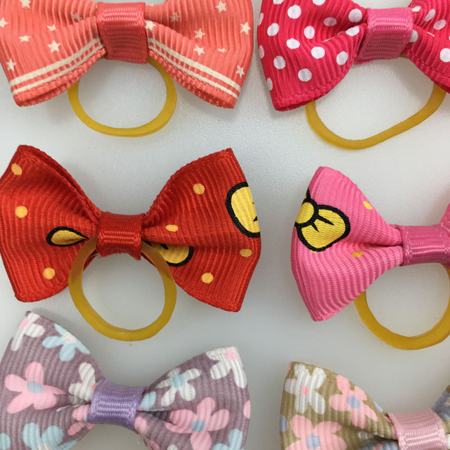 (20 pieces/lot) Cute Ribbon Dogs Cats Hair Accessories Handmade High Quality Pet Hair Bows Dog Grooming Accessories 30 Colors
