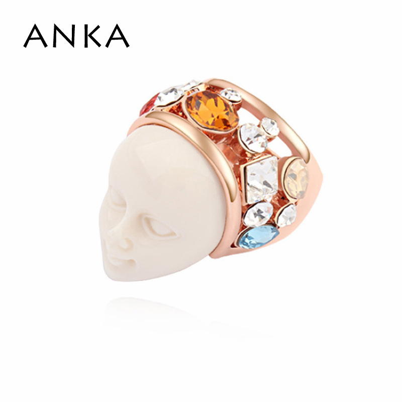Vintage Limited Trendy Sterling Jewelry Rings 2018 New Sales Genuine Crystal Mask Ring Main Stone Crystals from Austrian #105618