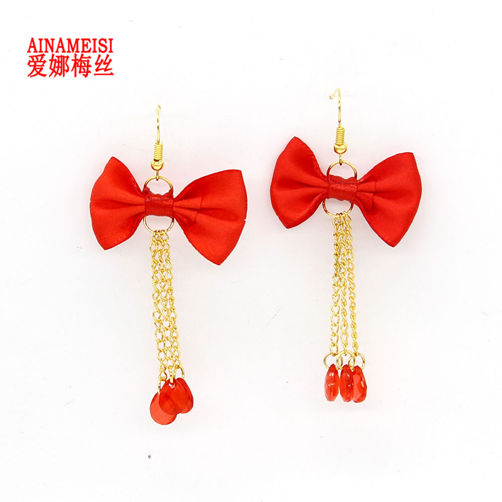 AINAMEISI Fashion Women New Jewelry Wholesale Red Cloth Bow Earrings Bride Jewelry Tassel Red Water Drop Glass Beads Earrings
