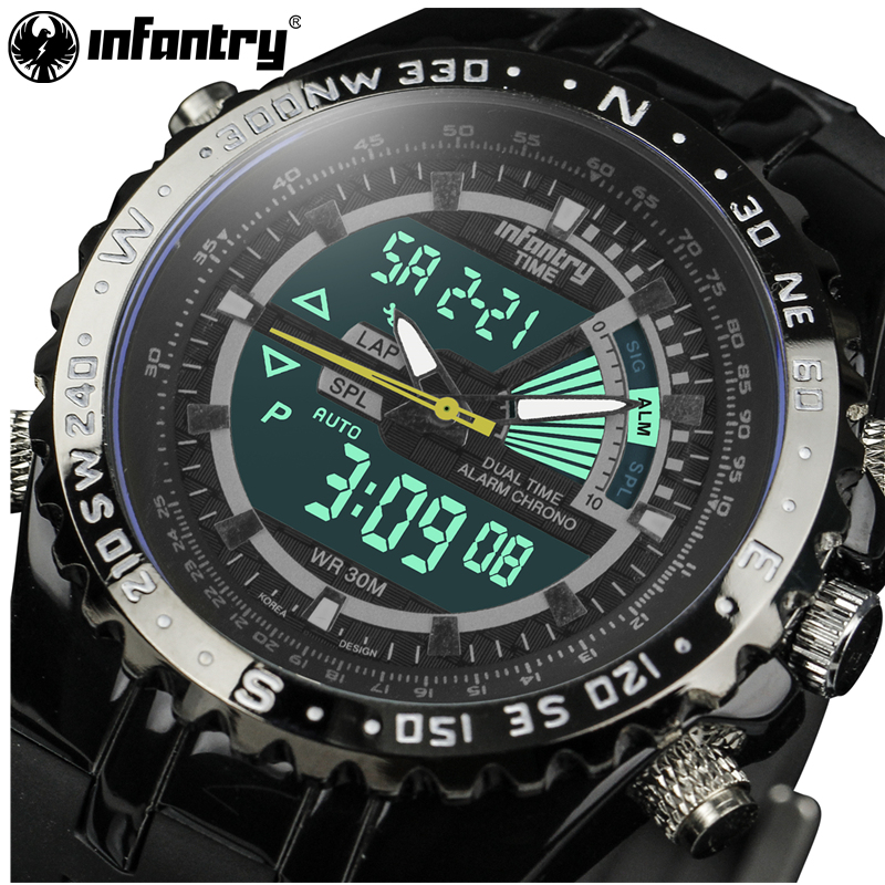 Men Watches Luxury Chronograph Sports Quartz Watch INFANTRY Analog LED Clock Man Rubber Military Waterproof Relogio Masculino weide new men quartz casual watch army military sports watch waterproof back light men watches alarm clock multiple time zone