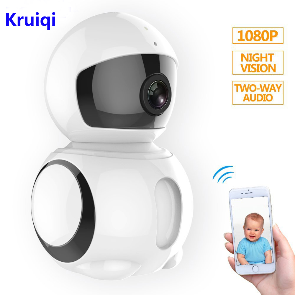 Kruiqi Wireless IP Camera Baby Monitor 1080P Wifi Robot CCTV Camera With Infrared Night Vision Motion Detection Wifi Ip Camera bw cctv ip wifi wireless camera p2p infrared motion