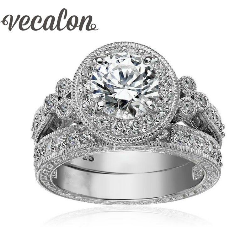 Vecalon Antique Jewelry Flower Women ring Round cut 2ct AAAAA Zircon Cz 925 Sterling Silver Female wedding Band ring Set